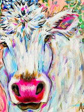 "Load image into Gallery viewer, ""Meadow Flowers"" Original White Cow Bouquet on Canvas 20x24"""