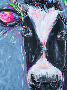 """I'll Meet You There"" Black and White Cow with Bouquet 24x30"" Original on Canvas"