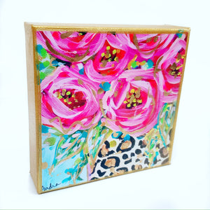 "Roses Leopard Vase Blue Background on 6""x6"" Gallery Wrapped Canvas"