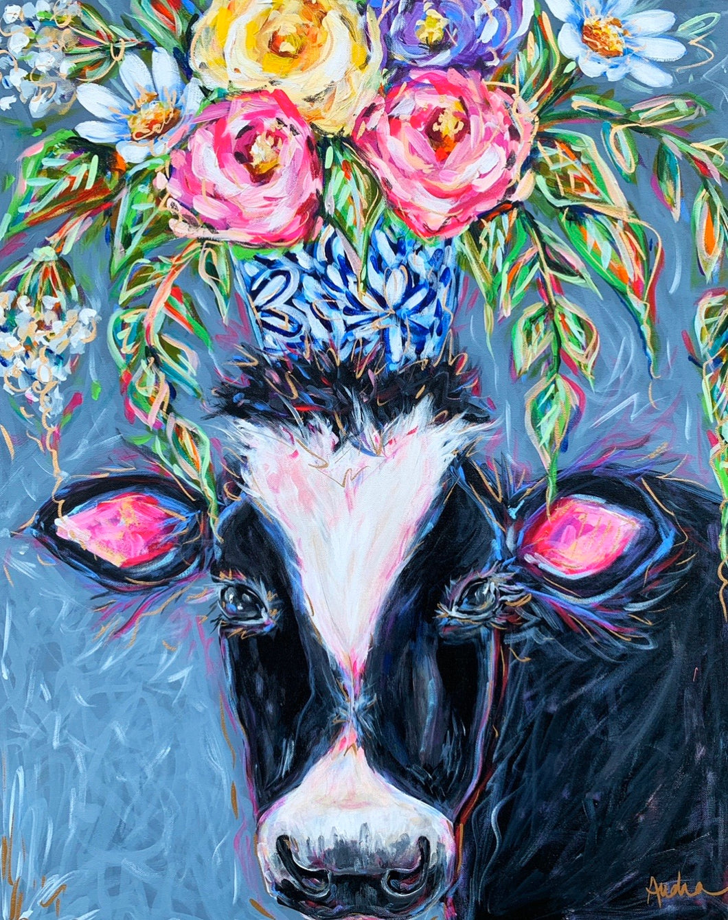 Black and White Cow with Bouquet Print