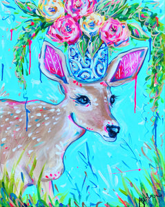 """Morning Fawn"" - Deer and Bouquet on Canvas 20x24"