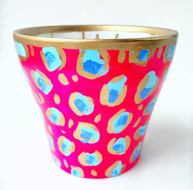 Pink Blue Leopard Planter - Medium
