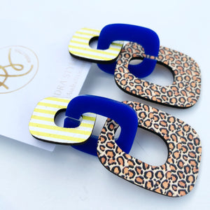 Lola - Yellow Stripe Blue Leopard