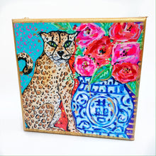 "Load image into Gallery viewer, Cheetah Ginger Jar on 6""x6"" Gallery Wrapped Canvas"