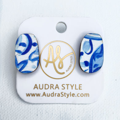 Blue and White Oval Stud