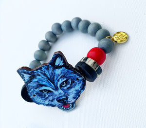 Animal Focal Beaded Bracelets - Wolf