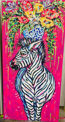 """No Limit"" -  Zebra and Bouquet on Canvas 24x48"