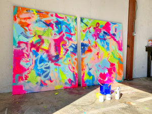 8'x5' Diptych Abstract on Gallery Wrapped Canvas