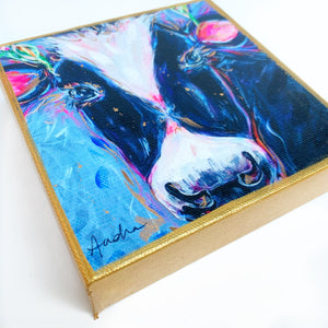 "Black and White Cow on 6""x6"" Gallery Wrapped Canvas"