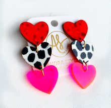 Load image into Gallery viewer, Sweethearts - Red Black Dot Neon Pink