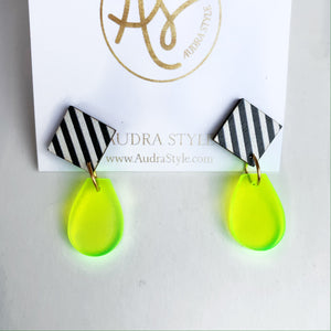 Claire - Black White Stripe Clear Neon Yellow