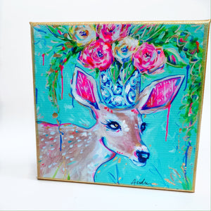 "Deer on 6""x6"" Gallery Wrapped Canvas"