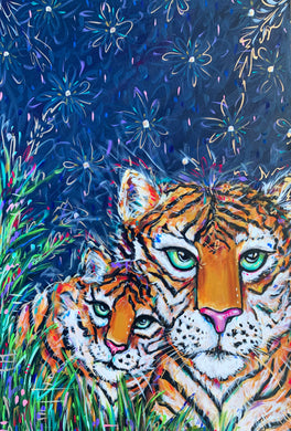 """Mama"" Original Tiger Mother and Cub on Canvas 24""x36"""