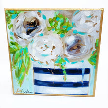 "Load image into Gallery viewer, White Floral in Black Stripe Vase on 6""x6"" Gallery Wrapped Canvas"