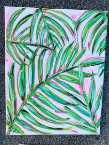 """Pink Palm 2"" Palm Branches on Canvas 11x14"""