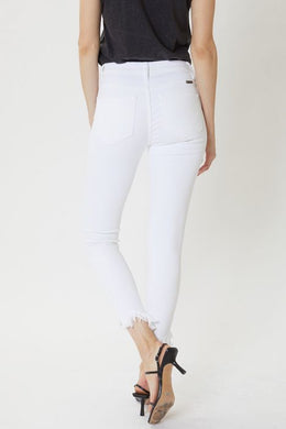 White High Rise Frayed Ankle Skinny Jean