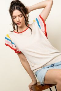 Colorful Sleeve Ribbed Top