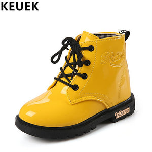 21da3e386c79 Children Motorcycle boots PU Leather Waterproof Martin Boots Winter Kids  Snow Boots Brand Girls Boys Shoes