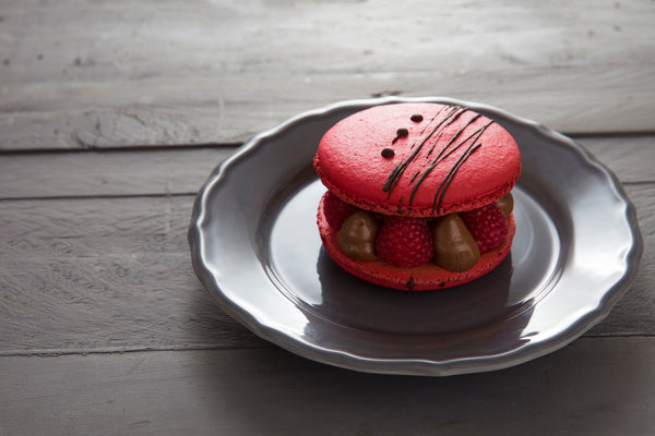 Giant Macaron with Chocolate Mousse & Raspberries - Wheat Free