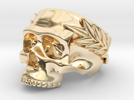 Skull Ring with Laurels 3d printed