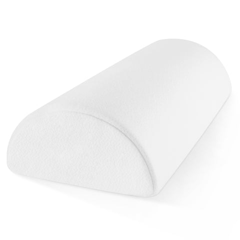 Memory Foam Half-Moon Bolster for Back and Knee Pain Relief - Wedge Pillow Provides Ultimate Support for Side and Back Sleepers - Semi Roll Pillow with Ultra-Soft, Washable Bamboo Blend Cover