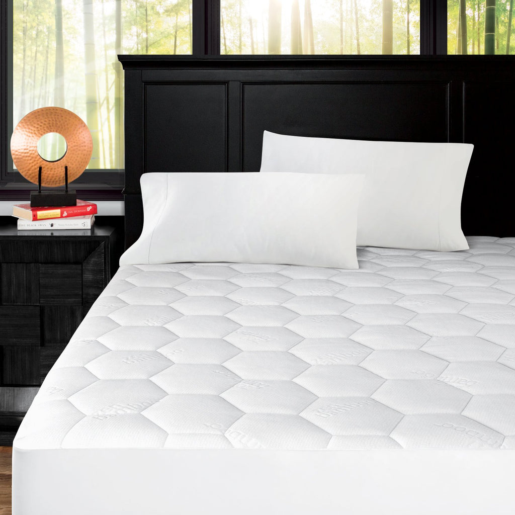 Zen Bamboo Ultra Soft Fitted Bamboo Mattress Pad - Premium Hypoallergenic Bamboo Mattress Topper with Honeycomb Cooling Technology