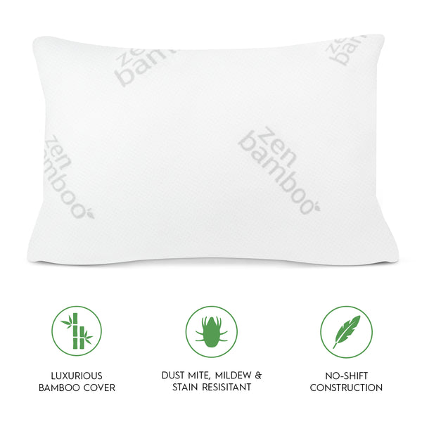 Zen Bamboo Ultra Plush Gel Pillow - (2 Pack) Premium Gel Fiber Pillow with Cool & Breathable Bamboo Cover - Dust Mite Resistant & Hypoallergenic