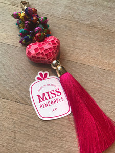 Key Chain - bag tag with Mosaic Heart
