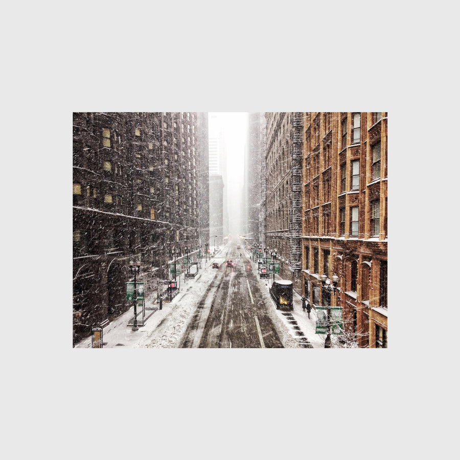 Van Buren and Dearborn Street in the Snow