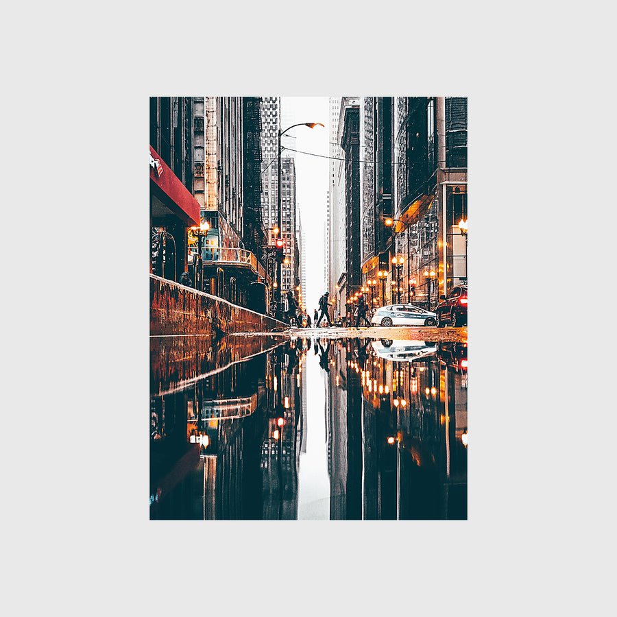 Rainy Day Reflection in the Loop