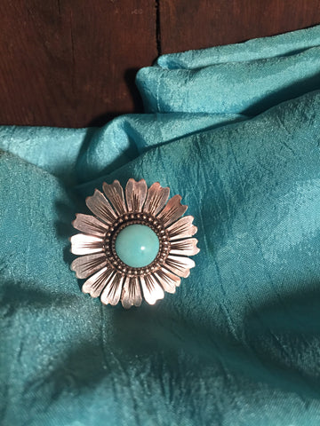 Silver Flower Scarf slide with Turquoise