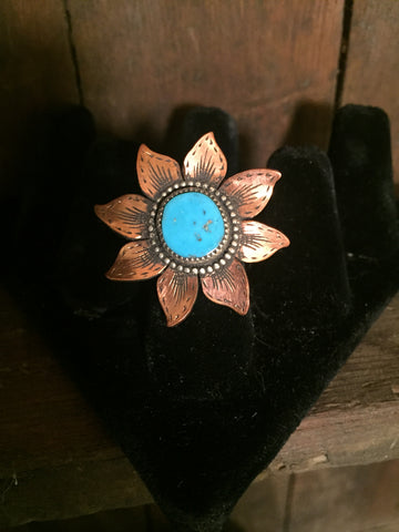 Copper Flower Ring with Turquoise Center