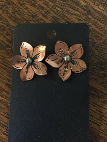 Copper Dogwood Flower Earrings with Silver