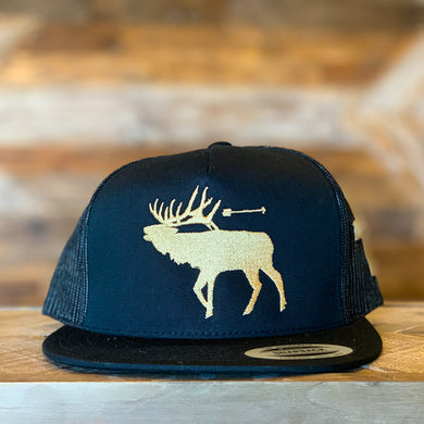 That's Bowhunting | 5Panel Black Trucker Snap Back | Elk