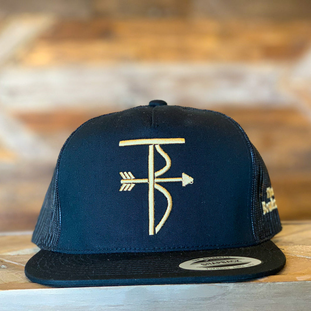 That's Bowhunting | 5Panel Black Trucker Snap Back | TB Logo