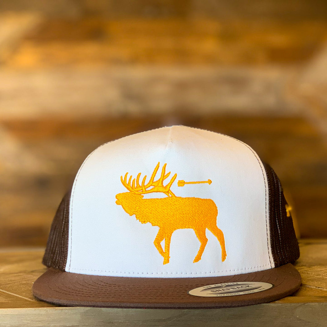 That's Bowhunting | Brown White and Gold Trucker | Elk Logo