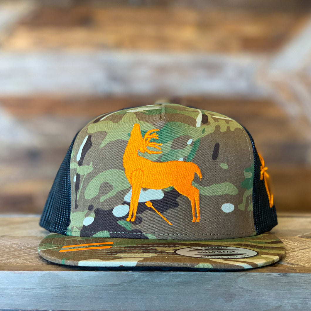 Multicam | 5P Trucker Snap Back | White Tail Logo