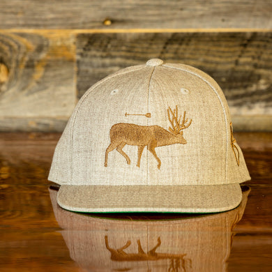 Heather Grey and Brown Mule Deer Flexfit Classic Snapback