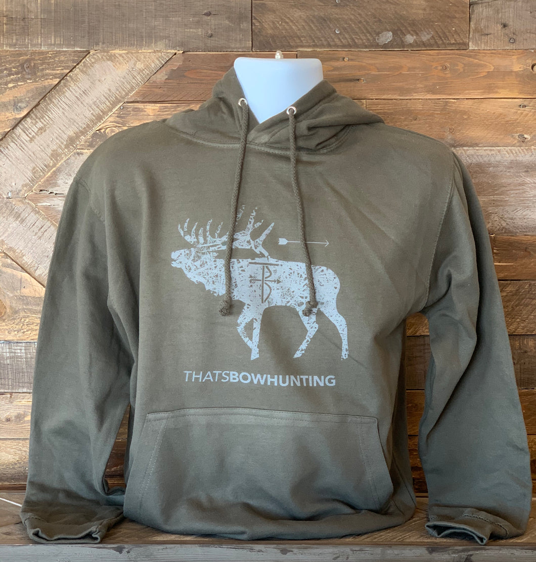 Thats Bowhunting | Bugling Bull| Tactical Green College Hoodie