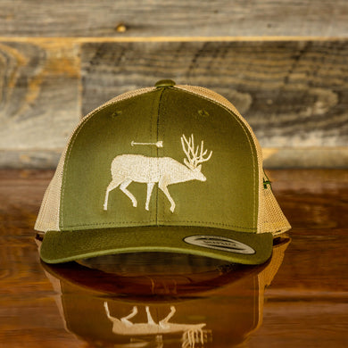 Moss and Khaki_Elk Retro Snapback Trucker