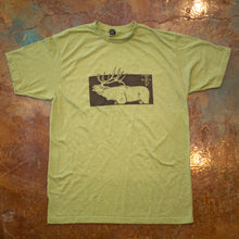 Load image into Gallery viewer, That's Bowhunting | Boxed Elk | Heather Sage Green  That's Bowhunting Boxed Elk T-shirt design because sometimes a box with a big elk on a T-shirt his all you need.  Heather Sage Green - Unisex Poly rich blend T-shirt   That's Hunting apparel line is dedicated to the successes and failures that come with bowhunting. Follow along our journey with the laughter and tears we have shed over the years of bowhunting.
