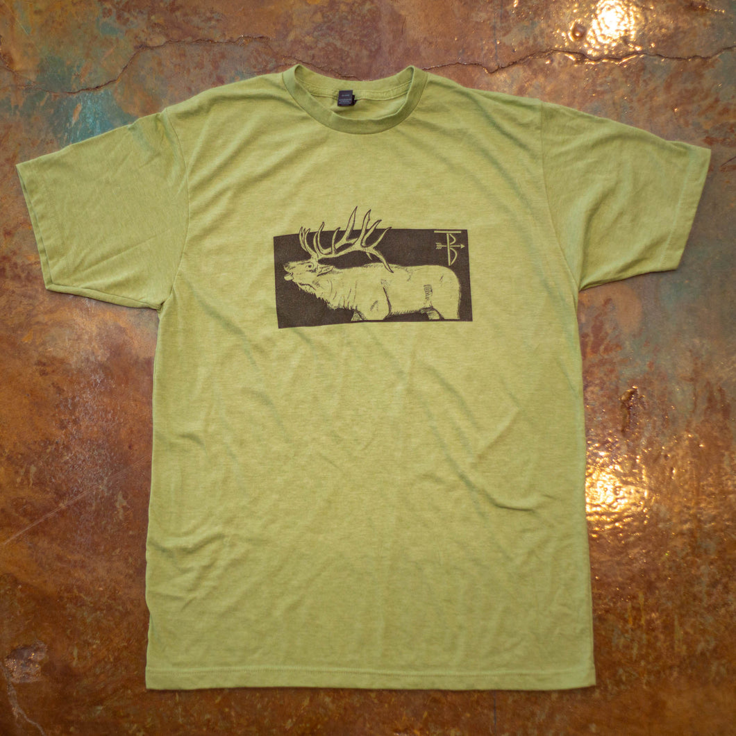 That's Bowhunting | Boxed Elk | Heather Sage Green  That's Bowhunting Boxed Elk T-shirt design because sometimes a box with a big elk on a T-shirt his all you need.  Heather Sage Green - Unisex Poly rich blend T-shirt   That's Hunting apparel line is dedicated to the successes and failures that come with bowhunting. Follow along our journey with the laughter and tears we have shed over the years of bowhunting.