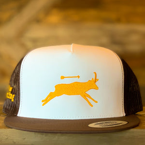 That's Bowhunting | Brown White and Gold  5P Trucker | Antelope logo