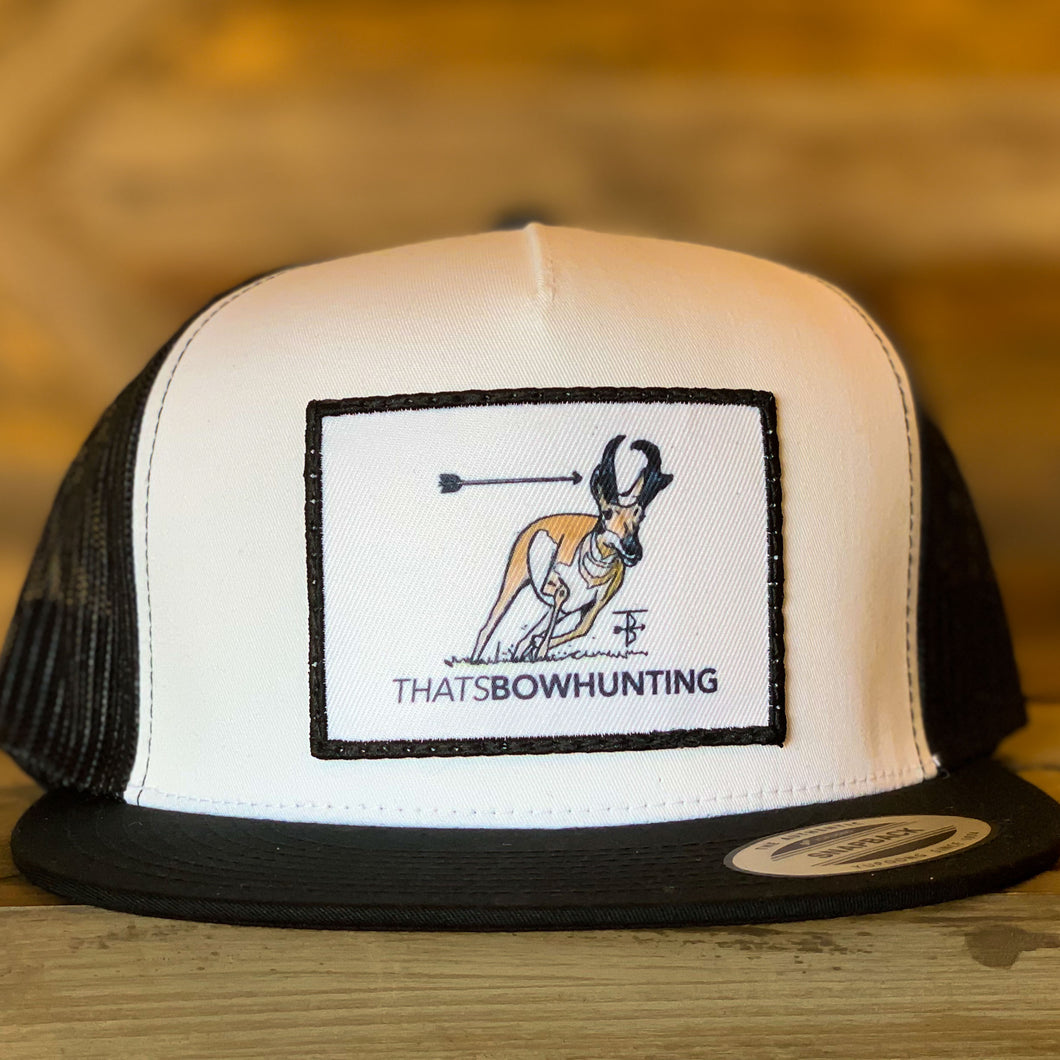 That's Bowhunting | Classic White Panel Trucker Snap Back | Antelope Patch