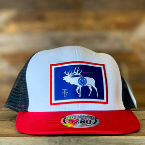 That's Bowhunting | Mile High Flat Brim Mesh Back Cap | Elk Flag