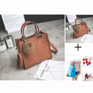 WANGKA handbag women shoulder bag luxury handbags women bags designer High-grade Scrub leather messenger bag Hairball women bag