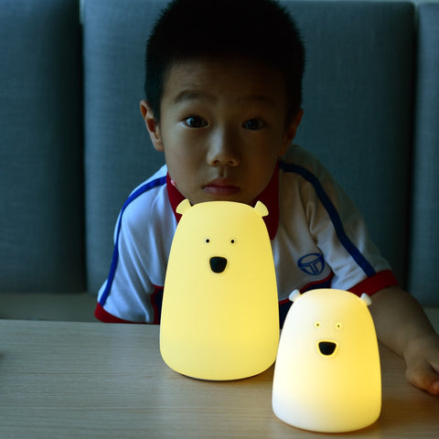 Remote Control Silicone LED Night Light Bedside Lamp Bear Color Light Children Cute Night Lamp Bedroom
