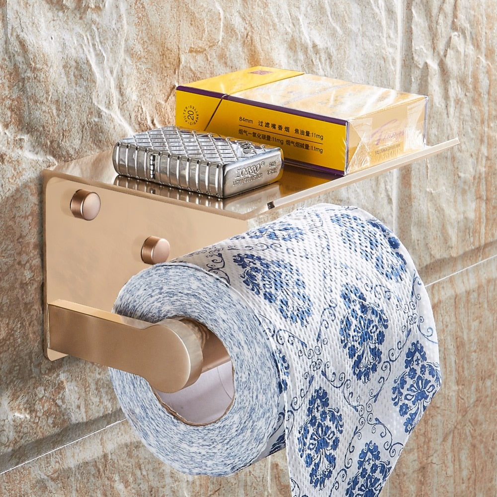 Toilet Paper Holders with Phone Storage Shelf