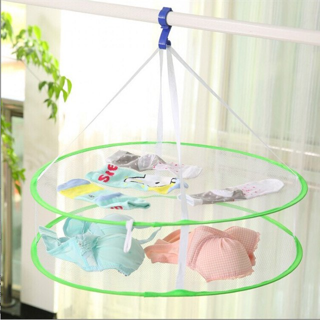 S Hook Drying Rack Folding Hanging Clothes Laundry Basket Dryer Net