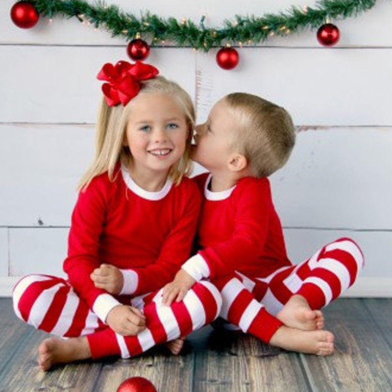 Autumn Winter 2pcs Toddler Kids long sleeve red set Baby Boys Girls Striped Outfits Christmas baby Pajamas Sleepwear Set